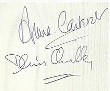 Anna Cartaret & Denis Quilley signed 5 x 5