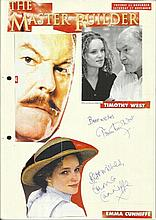 Cast of The Master Builder, Timothy West and Emma