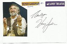 Henry Goodman signed white card attached to A4