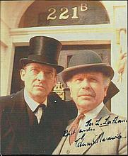 Sherlock Holmes Colour 8x7 photograph autographed by Edward Hardwicke (1932 - 2011) seen here as Dr. Watson in the television series Sherlock Holmes alongside Jeremy Brett. Slightly scratchy signature and dedicated. Good condition
