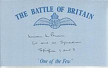 Norman M. Brown 611 - 41 Sqn Battle of Britain signed index card. Good condition
