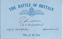 D J Anderson 29f Sqn Blenheims Battle of Britain signed index card. Good condition