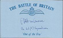 C W Ambrose 46 Sqn Battle of Britain signed index card. Good condition
