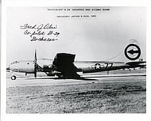 NAGASAKI PILOT: 8x10 inch photo signed by Fred Olivi, co-pilot of B-29 'Bockscar' which dropped the 2nd atomic bomb onto the Japanese city of Nagasaki on the 9th August 1945, effectively ending WWII. Good condition
