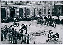 WW2 VETERAN: 8x12 inch photo of the Royal Horse Guards parade with slight creasing to top corners signed by WWII veteran J Curry of the Royal Engineers. Good condition