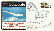 Crew Signed scarce British Airways Concorde cover flown on the 1st flight Baltimore - London 26/4/1985. Flown on G-BOAA and signed by  Capt Morris, Co-pilot  R Taylor &  John Stanbridge Flight Engineer. Only 100 were issued Good condition