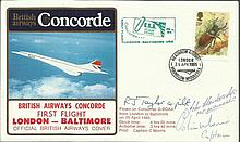 Crew Signed scarce British Airways Concorde cover flown on the 1st flight London - Baltimore 25/4/1985. Flown on G-BOAA and signed by  Capt Morris, Co-pilot  R Taylor &  John Stanbridge Flight Engineer. Only 100 were issued Good condition