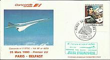 Air France Concorde cover flown on the 1st flight Paris - Belfast 25/3/1990 on the ill-fated crash plane BTSC Good condition