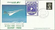 Air France Concorde cover flown on the 1st flight Belfast - Paris 24/3/1990 on the ill-fated crash plane BTSC Good condition
