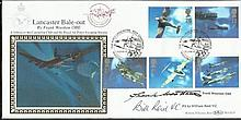 Bill Reid VC Frank Wootton Very rare 1997 Benham Lancaster Bale-Out first day cover with the full set of Airplane stamps and Waddington postmark. Silk illustration from a painting by Frank Wootton OBE, who has also signed the cover. Additionally,