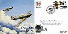 BATTLE OF BRITAIN: Battle of Britain commemorative envelope signed by Flt Lt Ludwik Martel, Battle of Britain pilot with No54 and 603 Squadrons and members of Skalski's Circus, Western Desert 1943. Good condition