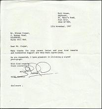 Nigel Mansell Typed and hand signed letter, dated November 1987 signed by former Formula One World Champion Nigel Mansell. The letter refers to a request for an autograph. Mansell has signed clearly. Good condition