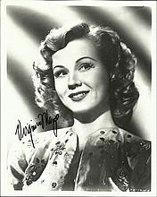 Virginia Mayo Black and white 8x10 portrait photograph autographed by actress Virginia Mayo (1920 - 2005) who was an American actress and dancer. Good condition