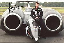ANDY GREEN: 8x12 inch photo signed by Wing Commander Andy Green, holds World Land Speed record 763mph. Good condition