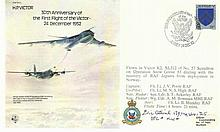 Flt Lt Eric Atkins DFC* KW* signed H P Victor Bomber cover. He flew 60 low-level bombing raids with a Polish Mosquito squadron and was twice decorated with the DFC; he also won the Polish Cross of Valour on two occasions. Died 2012 Good condition