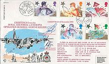 RAF OFFICIAL SIGNED FDC: 1985 Christmas RAF Official FDC Famine Relief in Ethiopia signed by Wing Commander W Bell, British Military Detachment commander Ethiopia and Wing Commander R Green, OC Operations Wing RAF Lyneham. Good condition