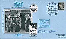 RARE BATTLE OF BRITAIN: Reach for the Sky Battle of Britain commemorative envelope signed by Squadron Leader W.J Pilkington-Miksa VM, KW, DFC of 303 Polish Squadron, Battle of Britain, 1940. Good condition