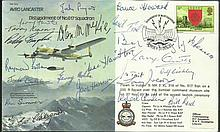 Avro Lancaster B30 Bomber cover signed by Twenty Two 617 Sqn Tirpitz raiders & Tall Boy, Grand Slam bombing raid WW2 veterans Only 27 covers were signed by veterans of the famous bouncing bomb raid crews, with info sheet inside. Produced by Eric