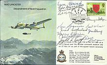 Avro Lancaster B30 Bomber cover signed by THIRTEEN WW2 Dambuster Veterans Only 27 covers were signed by veterans of the famous bouncing bomb raid crews, with info sheet inside. Produced by Eric Wormald. Signed by the following. Sqn Ldr Ken Brown CGM,