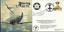 Wg Cdr Ken Mackenzie DFC* AFC signed Adler Tag JSCC54 cover flown in BF109, he was BOB fighter ace with 43 & 501 Sqn Good condition