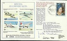 Judith Chisholm & Julian Nott signed 1981 Britains Record Breakers cover flown at Biggin Hill Air Fair. Has nice 4 Plane miniature sheet with Concorde, Meteor, Delta, Comet stamps Good condition