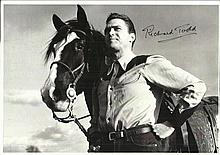 Richard Todd signed 12 x 8 b/w photo, nice Western