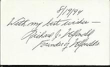 Richard McDonald signed white card. Good condition