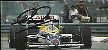 Nigel Mansell signed small colour magazine photo.