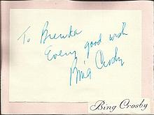 Bing Crosby signature piece fixed to Autograph