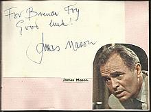 James Mason signature piece fixed to Autograph