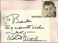 Robert Mitchum signature piece fixed to Autograph