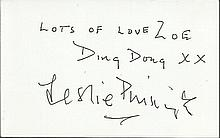 Sir Leslie Phillips signed white card. Good
