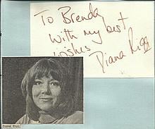 Diana Rigg signature piece fixed to Autograph