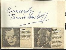 Boris Karloff signature piece fixed to Autograph