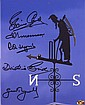 Cricket multi-signed Lords Photo Fred Trueman, Brian Close, Dickie Bird, Ray Illingworth, and Geoff Boycott