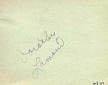 Dorothy Lamour signed vintage autograph album page. Good condition