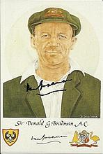 Don Bradman signed colour postcard advertising the Denise Dean prints.  Very rare Good condition