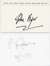 John Major & Gerry Adams. A pair of signed white cards. Excellent