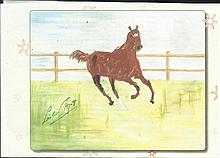 Lester Piggott signed colour printed drawing of horse. Good condition