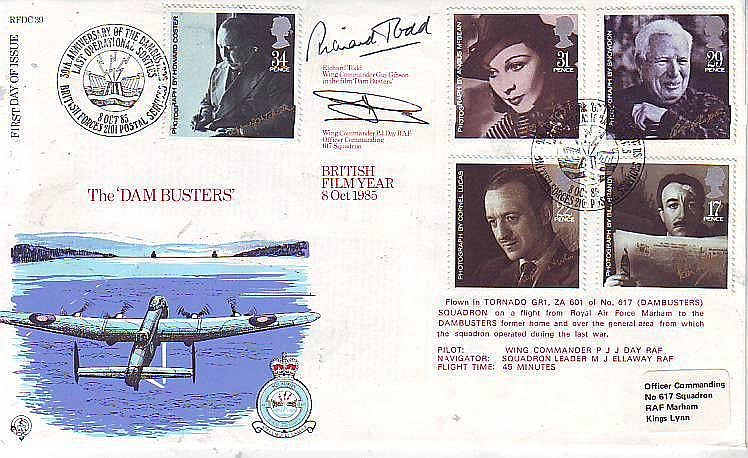 Richard Todd actor & D-Day Pegasus Bridge hero & Wg Cdr Day OC 617 Sqn Scampton signed RFDC39, 1985 Official British Films FDC with BFPS postmark. Comm. The Dambuster movie, where Todd played Guy Gibson. Flown by Tornado GR1 of 617 Sqn -. Good