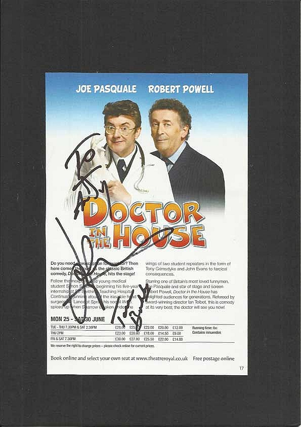 Joe Pasquale signed colour flyer for acclaimed theatre play Doctor in the House. To Andy Mounted to 12 x 8 black card