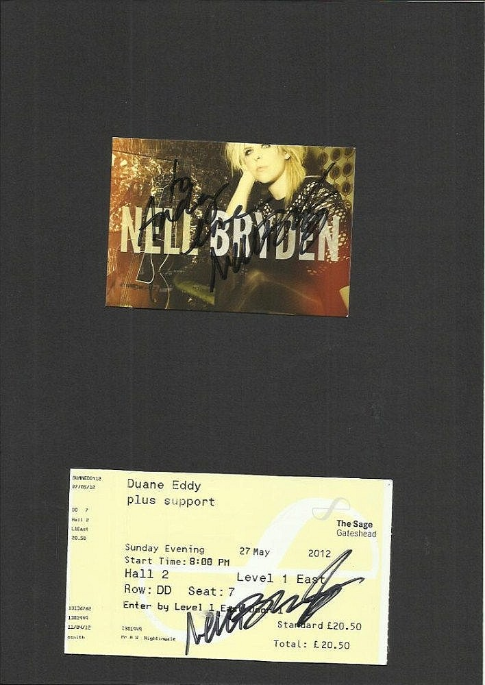 Nell Bryden signed Sage theatre ticket & small colour promo card also signed mounted to 12 x 8 black card