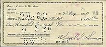 Gus Grissom signed 1960 cheque to the Holiday Inn