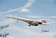Treble signed 8x12 inch photo of a British Airways