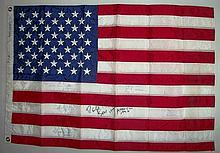 Astronaut Multi signed US Flag. Interesting stars
