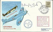 Ian Douglas Smith Spitfire pilot & former 237 Sqn WW2 pilot signed 1986 50th Ann of the Spitfire and Battle of Britain FDC