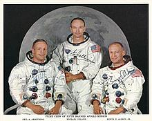 Apollo 11 crew signed NASA 8x10 litho in perfect