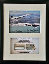 Concorde and Spitfire Framed Metal and signed photo presentation