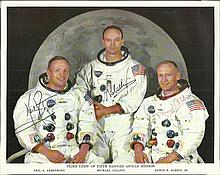 Apollo XI Crew Signed 10 x 8 colour NASA Litho,