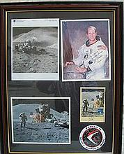 Apollo 15 crew signed presentation. Framed